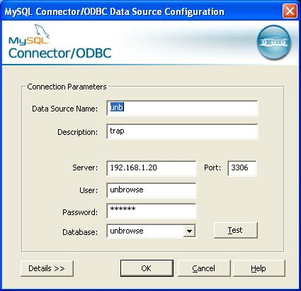 ODBC connection screen